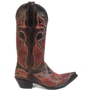 Old Gringo Women Brown Peacock Stitched Boot 7.5 B